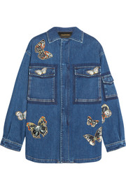 Butterfly-appliquéd stretch-denim jacket