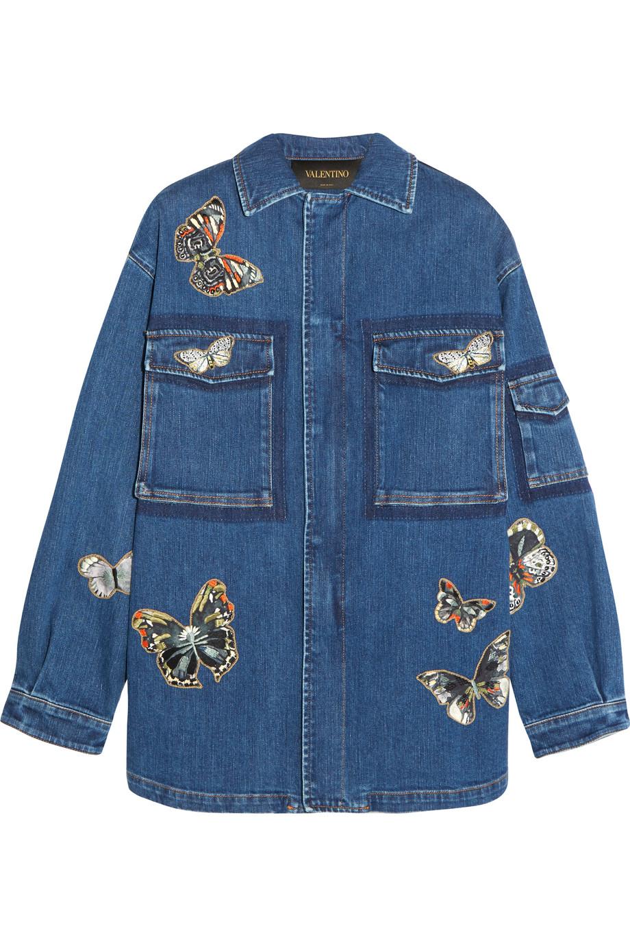 Valentino Butterfly-Appliquéd Stretch-Denim Jacket, Size: 42