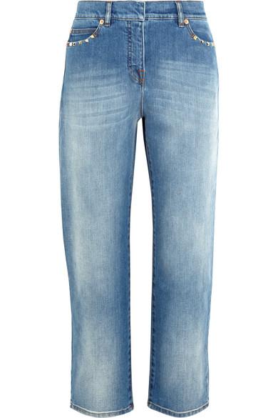 Valentino - Studded Cropped Mid-rise Boyfriend Jeans - Mid denim