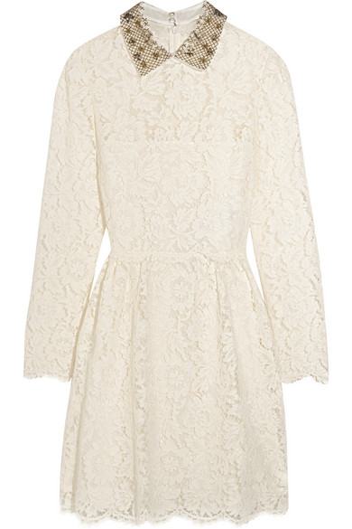 Valentino - Star-collar Stretch-lace Mini Dress - Ivory