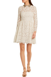 Valentino Star-collar stretch-lace mini dress