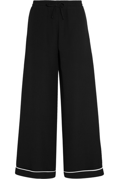 Valentino - Silk Crepe De Chine Wide-leg Pants - Black