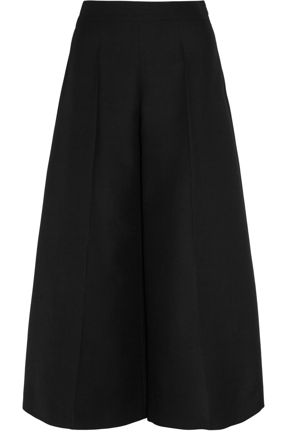 Valentino Wool-Crepe Wide-Leg Culottes, Black, Women's, Size: 44