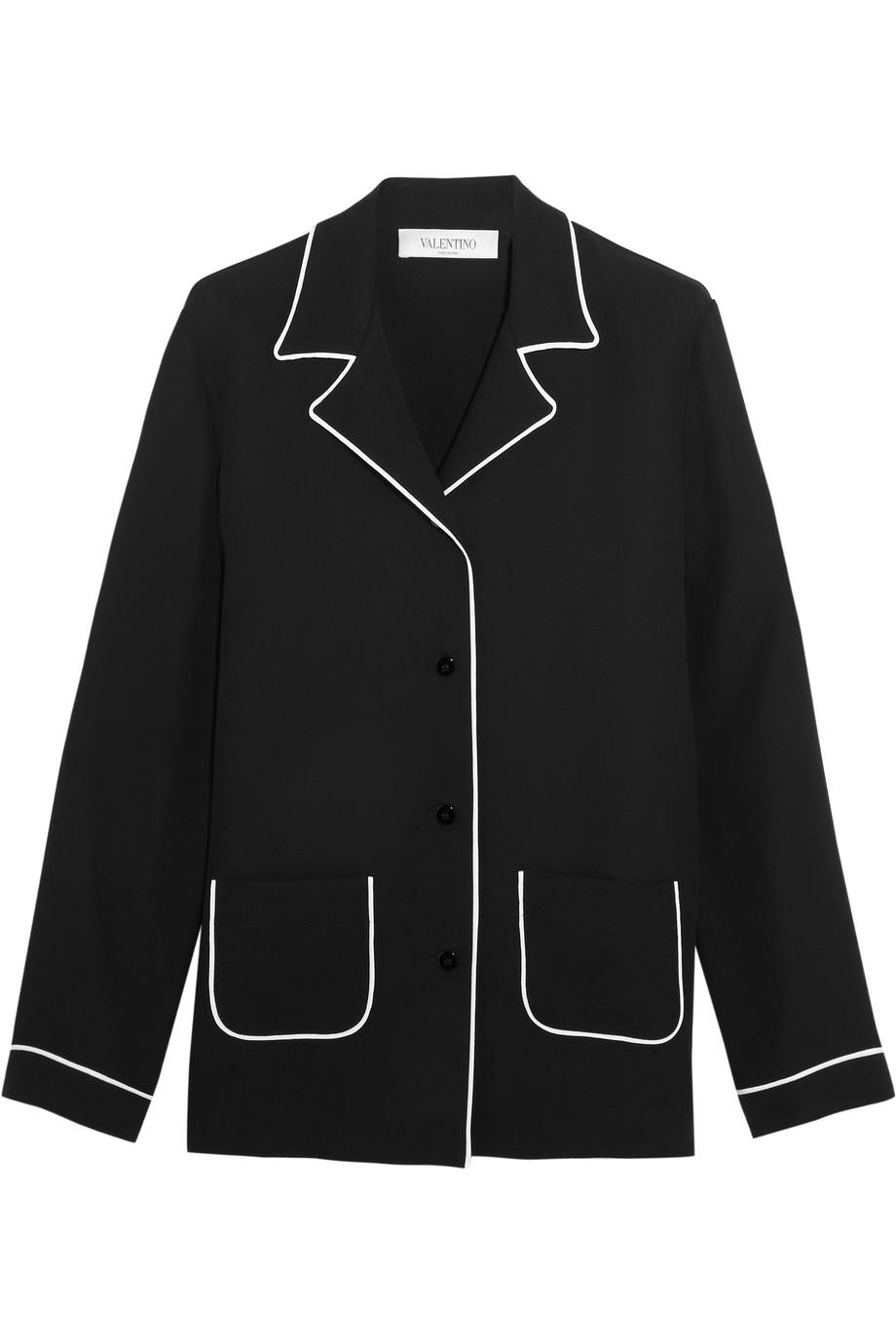 Valentino Silk Crepe De Chine Shirt, Black, Women's