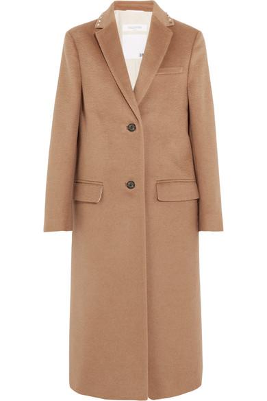 Valentino - Stud-embellished Camel Hair Coat - Tan