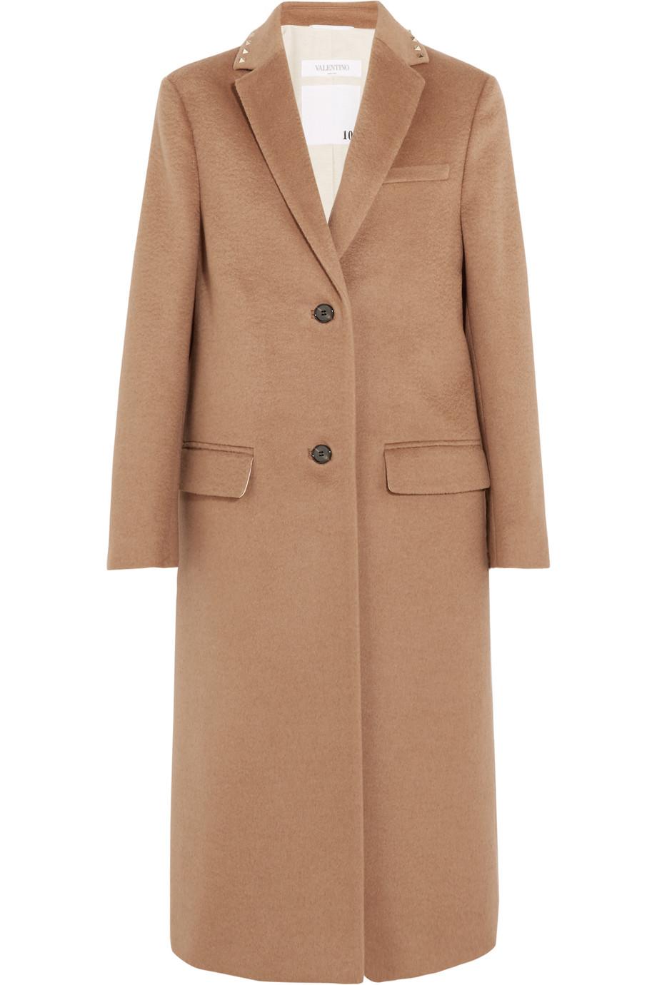 Valentino Stud-Embellished Camel Hair Coat, Tan, Women's, Size: 44