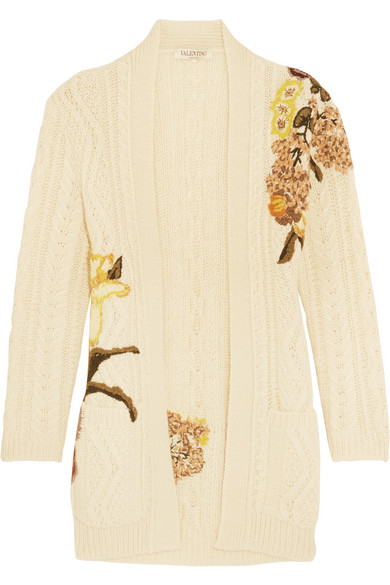Valentino - Embroidered Cable-knit Wool And Alpaca-blend Cardigan - Cream