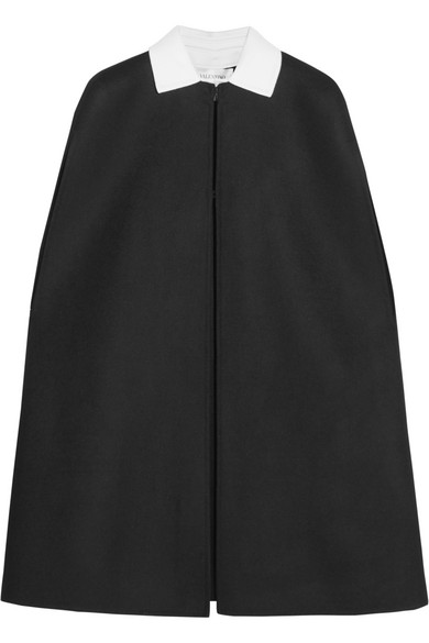 Valentino - Two-tone Wool-blend Felt Cape - Black