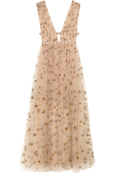 Valentino - Sequin-embellished Tulle And Georgette Gown - Neutral