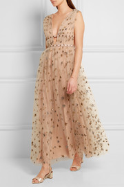 Valentino Sequin-embellished tulle and georgette gown
