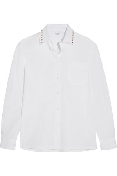 Valentino - Studded Cotton-poplin Shirt - White