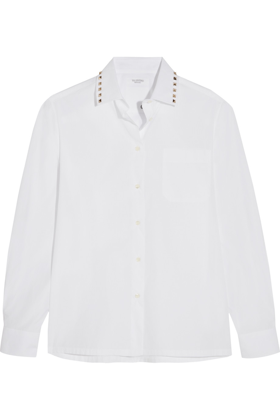 Valentino Studded Cotton-Poplin Shirt, White, Women's, Size: 38