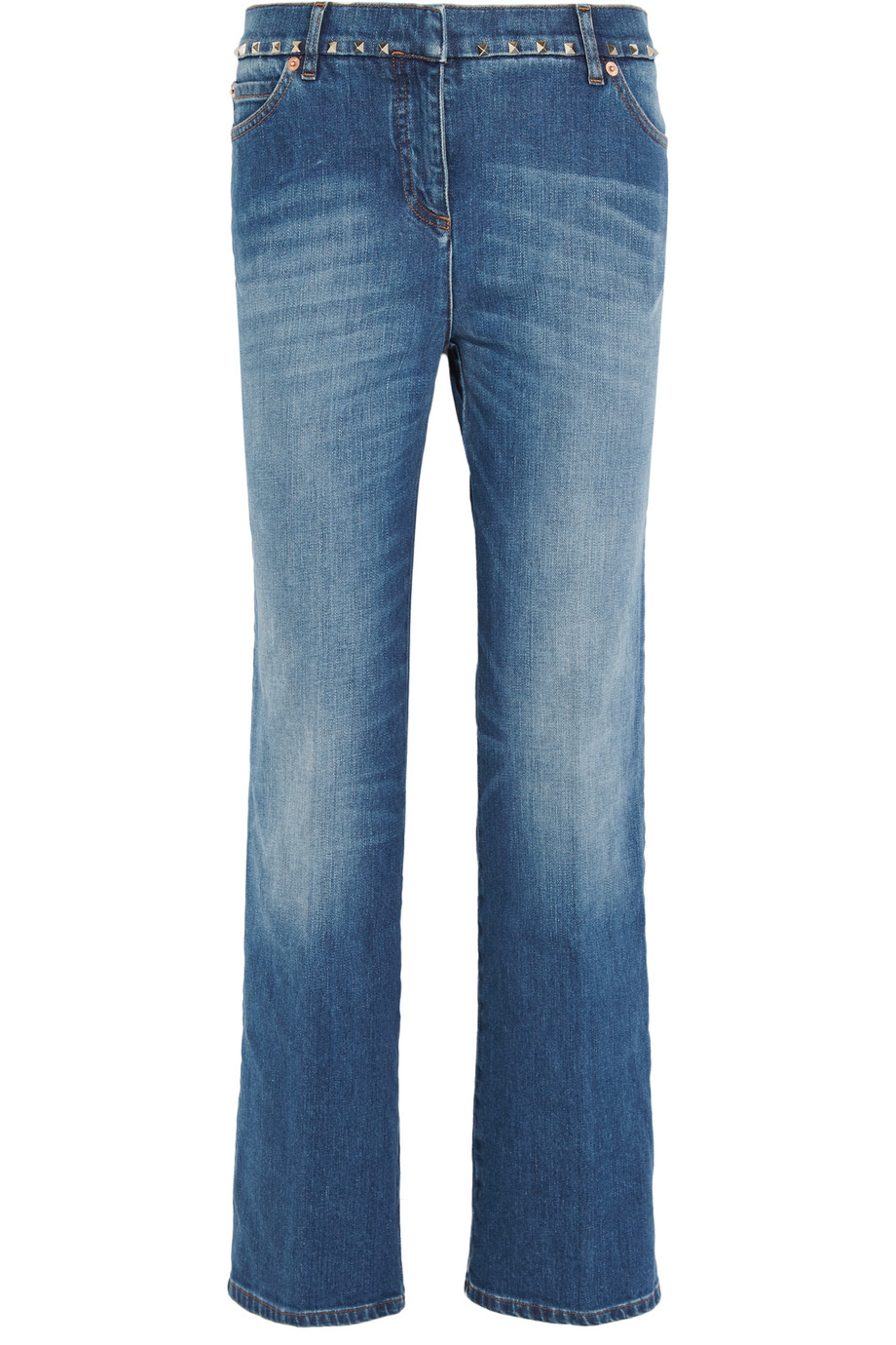 Valentino Studded Cropped Mid-Rise Boyfriend Jeans, Mid Denim, Women's, Size: 29