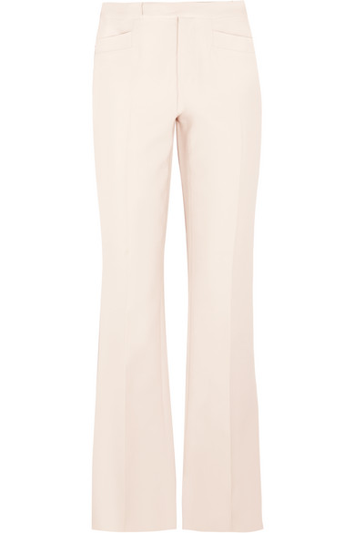 WOMAN WOOL AND SILK-BLEND FLARED PANTS IVORY