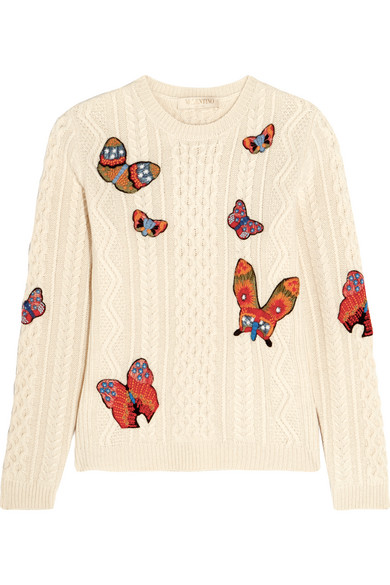 Valentino - Embroidered Cable-knit Alpaca And Yak-blend Sweater - Ivory