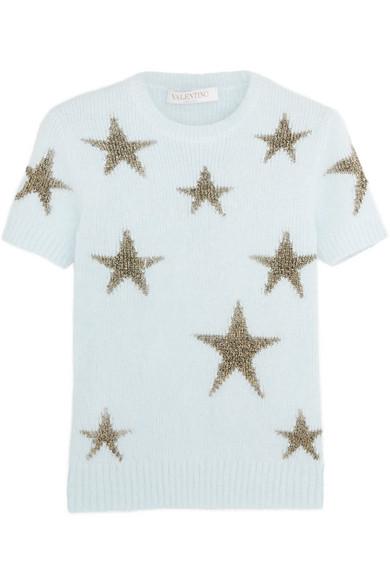 Valentino - Star-intarsia Angora-blend Top - Sky blue