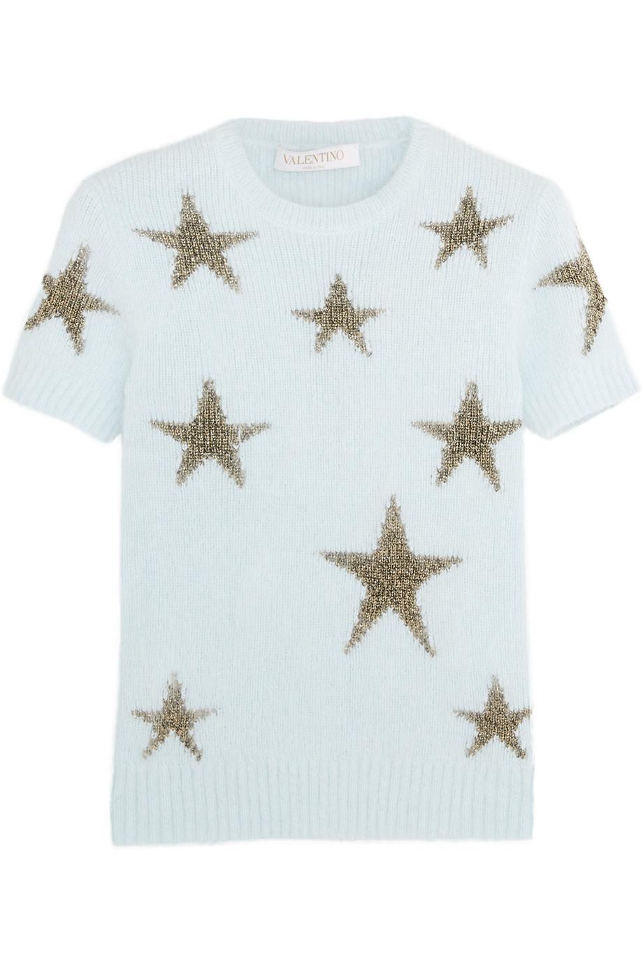 Valentino Star-Intarsia Angora-Blend Top, Size: XL