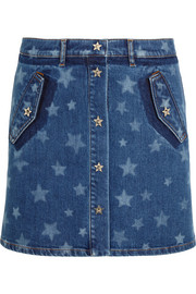 Valentino Bleached star-print stretch-denim mini skirt
