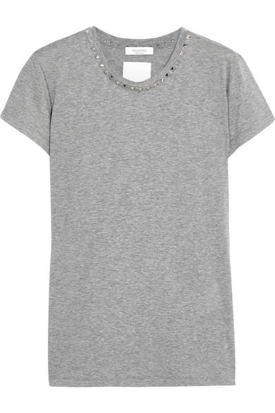 Valentino - Studded Cotton-jersey T-shirt - Gray