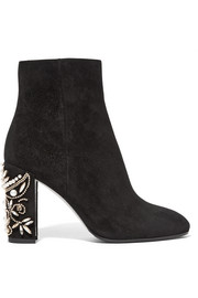 René Caovilla Embellished suede ankle boots