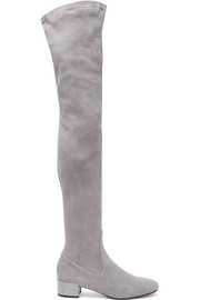 Crystal-embellished suede over-the-knee boots