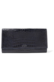 Smythson Mara Marshall croc-effect glossed-leather travel wallet