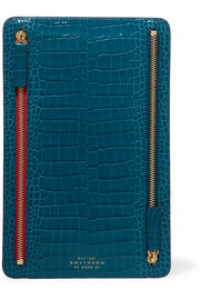Mara croc-effect glossed-leather wallet