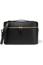 Panama textured-leather vanity case