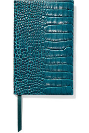 Smythson Panama croc-effect glossed-leather notebook