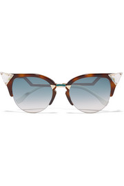 Fendi Crystal-embellished cat-eye acetate and gold-tone sunglasses