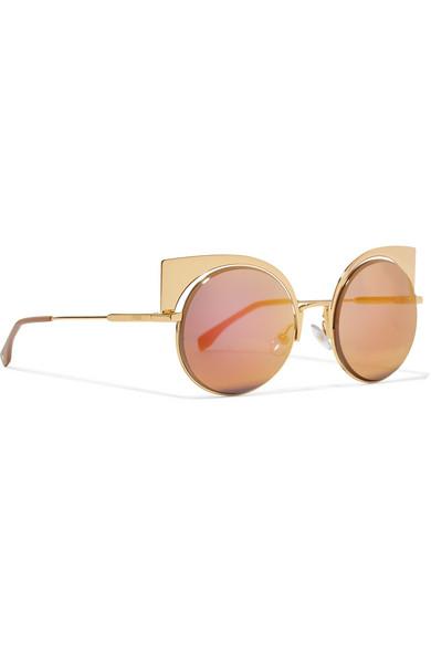 60b0503d81719 Eyeshine cat-eye gold-tone mirrored sunglasses
