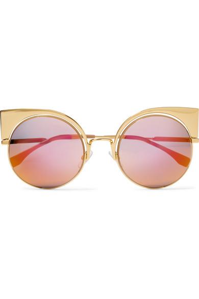 327580cb6ade7 Fendi. Eyeshine cat-eye gold-tone mirrored sunglasses