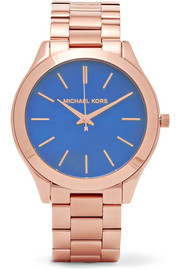Slim Runway rose gold-plated watch