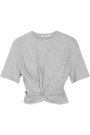T by Alexander Wang Cropped twist-front cotton-jersey T-shirt