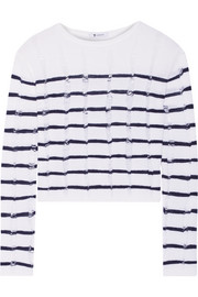 T by Alexander Wang Striped open-knit merino wool sweater