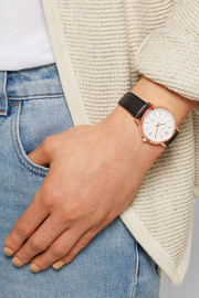 Liten Saxon leather and rose gold-plated watch