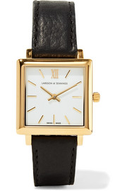 Larsson & Jennings Norse leather and gold-plated watch
