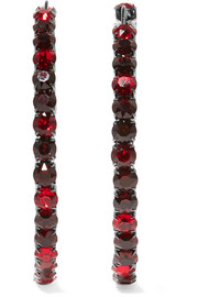 Earrings in gunmetal-tone brass and burgundy crystal