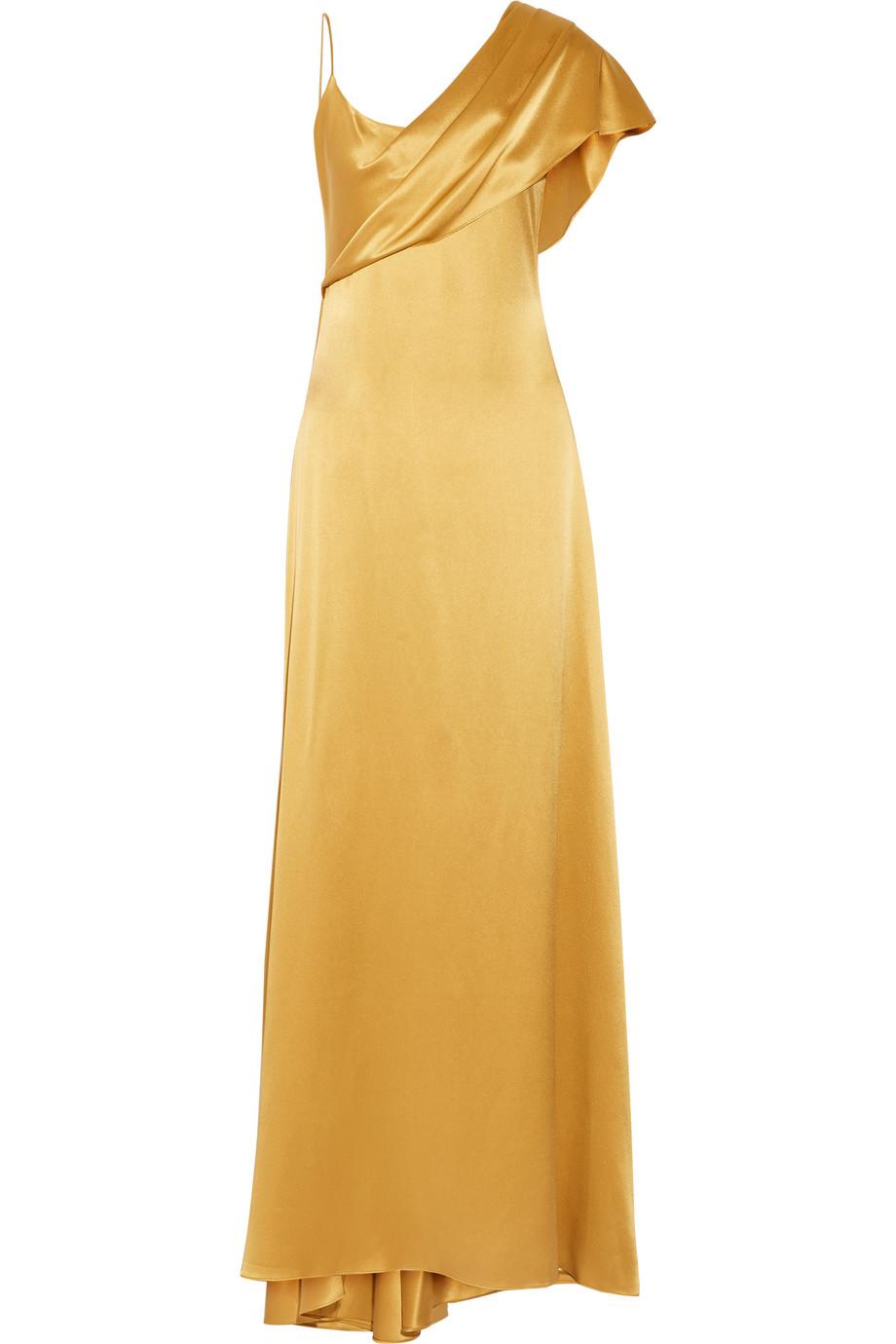 Cushnie Et Ochs Zahara Draped Silk-Charmeuse Gown, Gold, Women's, Size: 2