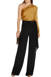 Belted silk crepe de chine wide-leg pants