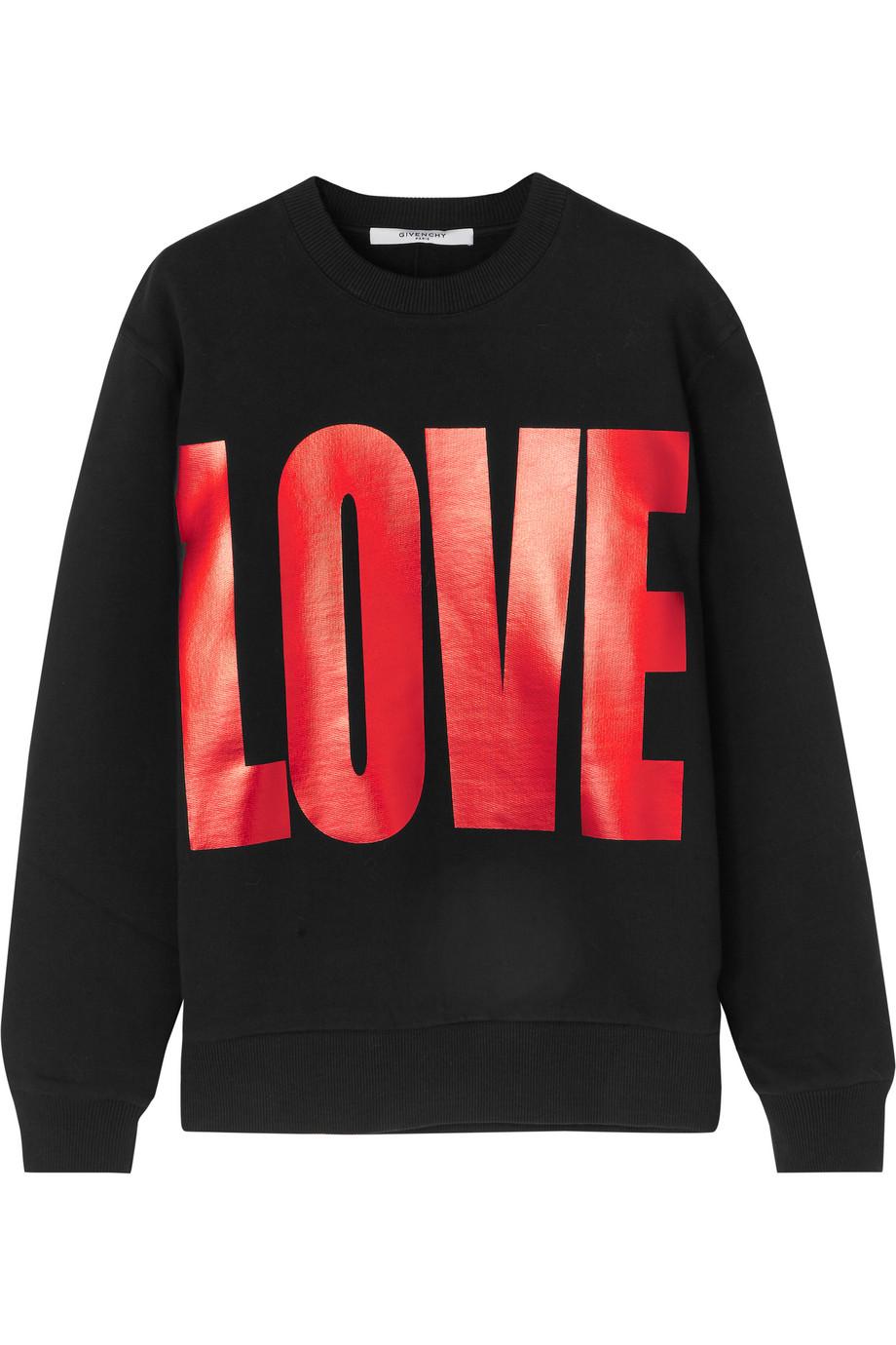 Givenchy Metallic Printed Sweatshirt in Black Cotton-Jersey, Women's, Size: XS
