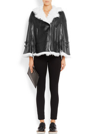 White shearling-trimmed cape in  black leather