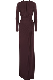 Givenchy Ruched gown in merlot stretch-crepe