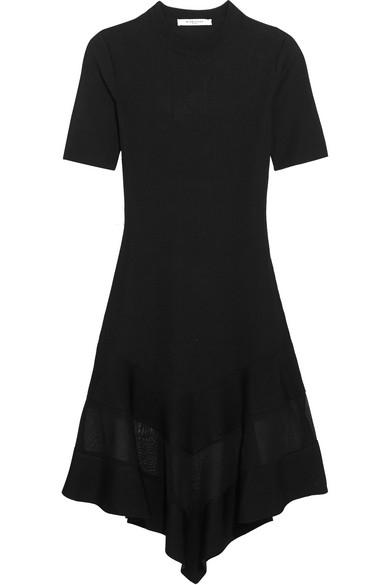 Givenchy. Organza-paneled dress in black ribbed-knit