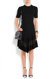 Organza-paneled dress in black ribbed-knit