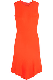 Givenchy Dress in orange stretch-cady with ruffled asymmetric hem