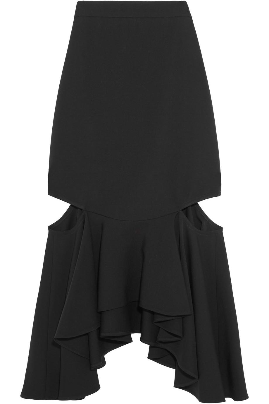 Givenchy Cutout Ruffled Wool Midi Skirt, Black, Women's, Size: 44