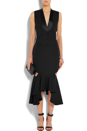Givenchy Cutout ruffled wool midi skirt