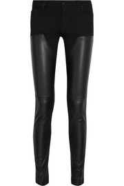 Leather-paneled low-rise skinny jeans
