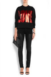 Givenchy Leather-paneled low-rise skinny jeans
